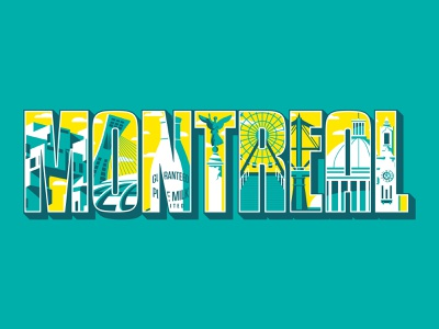 Montreal Typographic Illustration vector drawing culture canada destination location attraction landmarks mural mural design art sketch design illustraion typography typography art