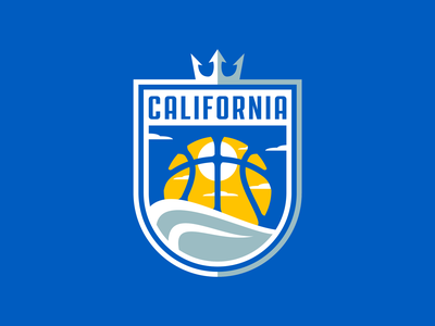 California Basketball Team Logo sunset california royal king trident crown sea wave basketball basketball logo team branding sport logo brand design vector matthew doyle mascot sports logo