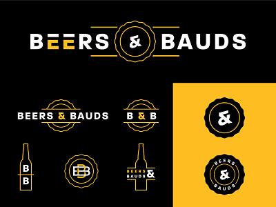 Beers & Bauds Podcast podcast secondary primary monogram cap bottle buds brew beer system icon typography illustration vector design brand logo design logo branding identity