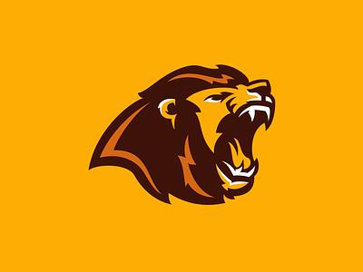 Brown Lion Gaming roar claw matthew doyle design mascot vector logo sports gaming lion