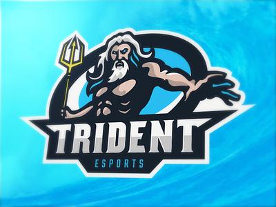 Poseidon Mascot Logo (For Sale) team sports esports logo mascot trident neptune poseidon