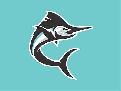 Marlins mascot logo sports baseball ocean fish swordfish marlin