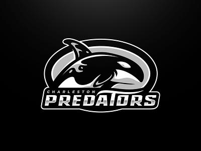 Charleston Predators Primary water wave predators killer whale orca whale animal football mascot sports logo