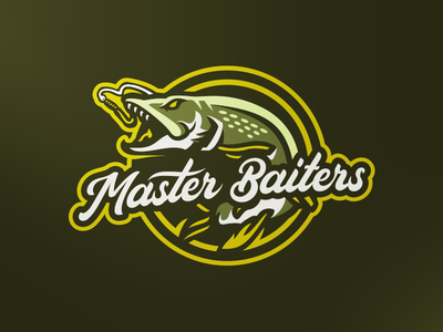 Master Baiters typography illustration branding sport logo brand vector mascot sports logo fishing rod team tournament lure fish northern pike angling fishing
