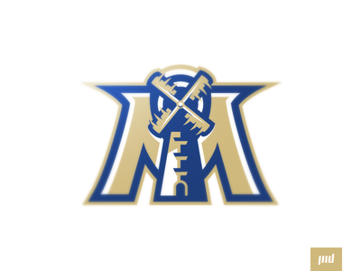 Milwaukee Millers blue gold sports branding brand sport logo logo mascot mascot logo esports football miller m windmill mill brewers millers milwaukee milwaukee logo design