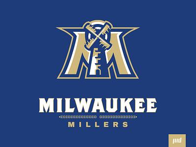 Milwaukee Millers Full Branding sport logo brand esports logo design sports branding sports logo brand design mascot design mascot logo mascot esports football m wind farm wheat steel windmill mill millers milwaukee