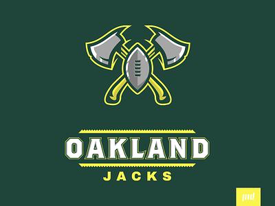 Oakland Jacks Full Branding vector illustration logo design sport logo sports mascot logo esports logo saw football iron steel hatchet axe tree wood lumberjacks lumber jacks oakland
