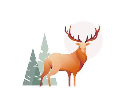 Stag Illustration orange vector logo branding graphic design design graphic forest deer stag illustraion