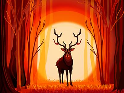 Stag at Dusk deer forest orange red evening dusk stag art illustration digital