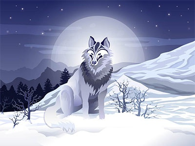 Wolf in the Night landscape mountains nature wolf illustrator blue night illustration art digital artwork