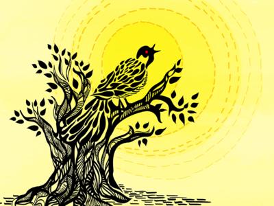 Call of the Koel ink black yellow heat summer song bird graphic design illustration