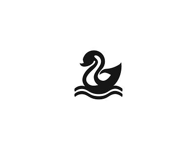 Swan Mark  design white black logo mark swan