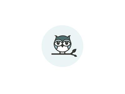 Owl Illustration  circle logo illustration flat blue bird owl