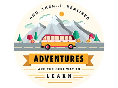 Adventure bright flat colour landscape learn bus mountains orange red quotes travel adventure