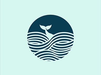 Whale in the Sea curves lines simple sea blue whale logo design graphic