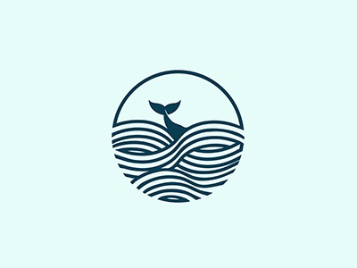 Whale in the Sea illustration graphic design curves lines sea whale blue mark logo simple