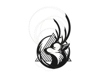 Deer mark animal mark simple black geometry sketch animal deer design logo