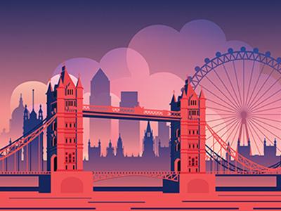 London Illustration bridge tower bridge thames skyline postcard blue red london