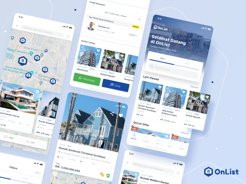 Onlist - Property Listings uxdesign ux uiux uidesign ui mobileapps design app