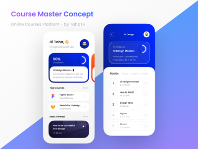 Course Master | Concept gradient curved app design figma minimal blue colorful uiux learning course course app design app ui design ui