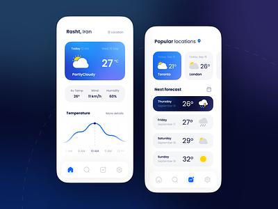 ⛅ Weatherly app graphic design light figma appui design blue minimal mobile app sun snow rain forecasting weather ui design ux ui