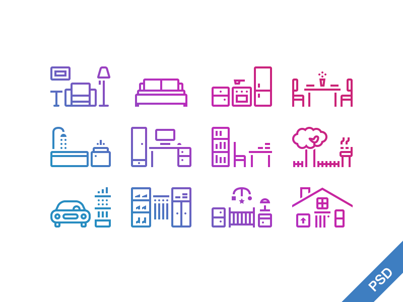 House icons icon icons bedroom house bathroom set free psd