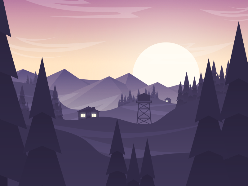 Hillsmountains3 mountains tree sun house landscape game redesign vector view illustration