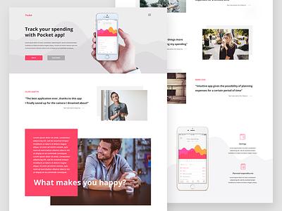 Pocket App Landing Page ux ui pink bold colors mobile app app finance app webdesign landing page