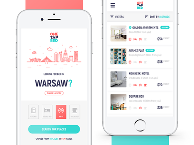OneTapBed Mobile App webdesign ux ui travel reviews mobile app booking app