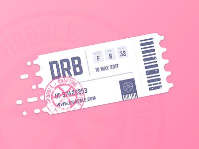 Dribbble Invitation stamp icon flat challenge contest ticket drafting draft invitation invite dribbble