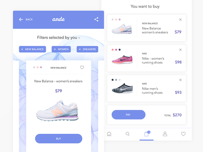 Ande Mobile App button shop store icons colours shoes tag card flat ux ui