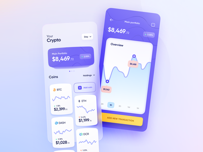 Crypto Tracker - Mobile App glassmorphism blur clean ui figma glass ui ux  ui ux product concept visual airy mesh gradient transparent glassy shadows crypto tracker cryptocurrency crypto ui design