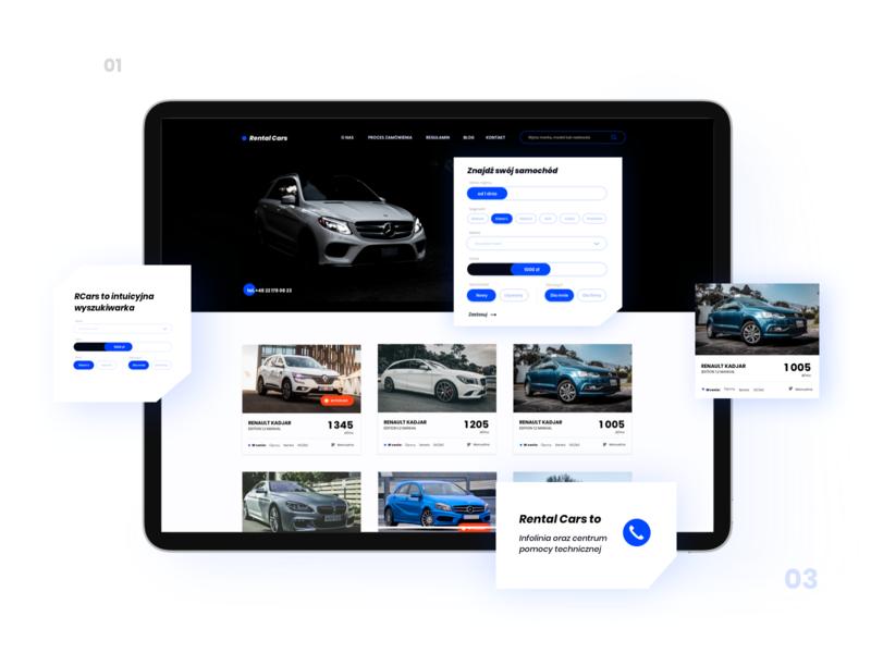 Rental car company website – UX/UI design blue and black blue automotive web design rental car car ui design ux  ui