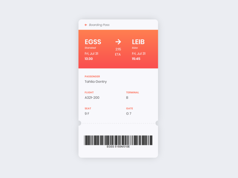 Daily UI 024 - Boarding Pass web app ui design dailyui