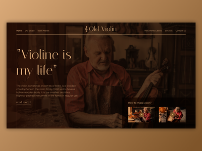 Violin Maker - UI Concept violin violinist ux typography agency landing page web vector ui branding minimal design figma