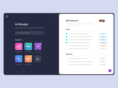 Dashboard for Task Managment tasks dashboard ui management app minimal ux typography web ui design figma