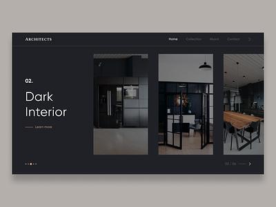 Dark Interior - UI Concept architecture interface black dark ui dark interior flat ux typography web ui minimal figma design
