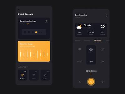 Smart Home Controls - App Concept weather illustrator app branding vector flat ux ui minimal figma design