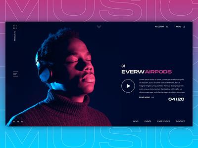 Music Headphones - UI Concept agency landing page typography flat branding web ui ux minimal figma design