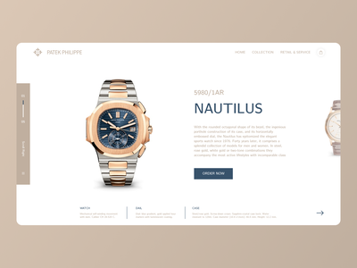 Patek Philippe - Website Concept website typography branding web ui ux minimal figma design watches patek watch