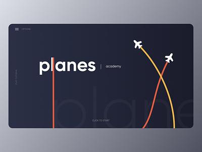 Planes Academy - UI Concept website typography flat branding web ux minimal figma design plane airplane