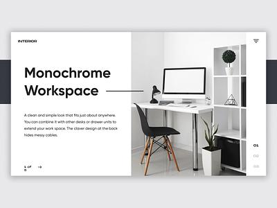 Interior Website - UI Concept monochrome interior logo app typography branding web ui ux minimal figma design