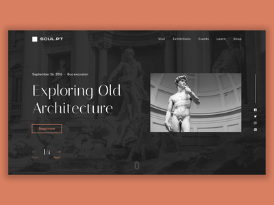 Old Architecture UI Concept architecture app flat ui typography branding web ux minimal figma design