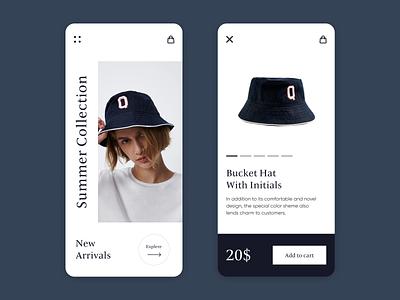 Fashion Mobile App typography branding web ux ui minimal figma design hat face fashion app fashion