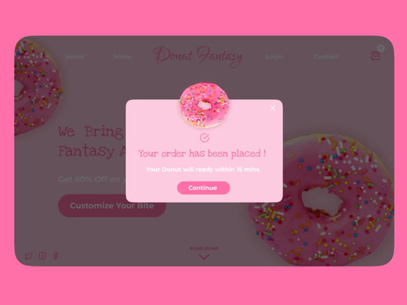 Pop-Up/Overlay | Daily UI  016 donut chart web donut day donut shop website design web design webdesign website donuts donut app uiux ui daily 100 challenge dailyui daily ui uiuxdesign uidesign ui  ux design