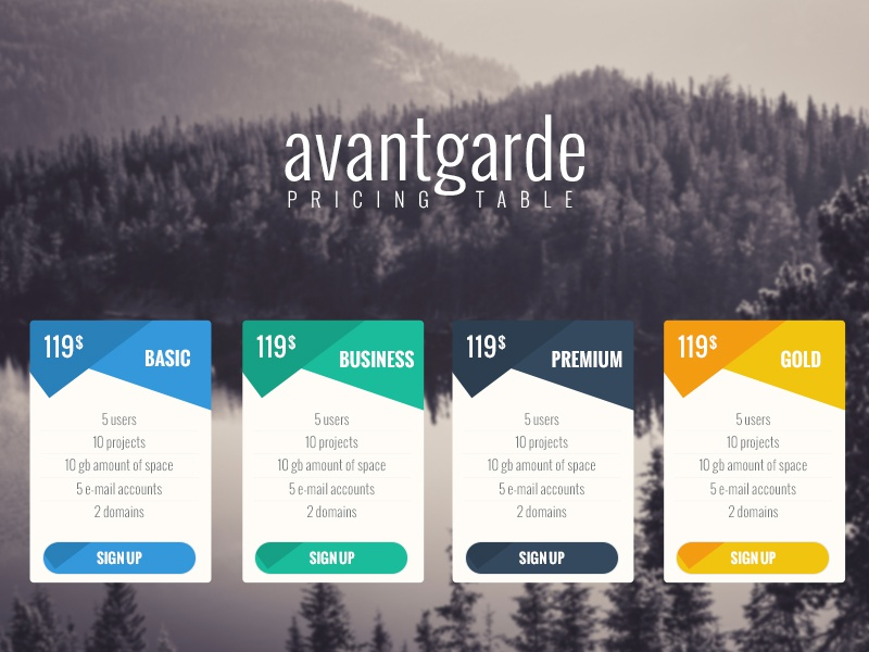 Avantagarde - Pricing Table flat modern photoshop business ui ux pricing price design marketing advertising