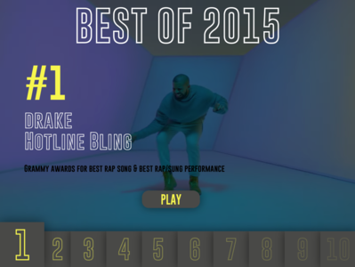 Daily UI #63 - Best of 2015 music player top ten top 10 hotline bling drake music best of 2015 best of dailyui vector uidesign ui illustrator graphicdesign graphic design