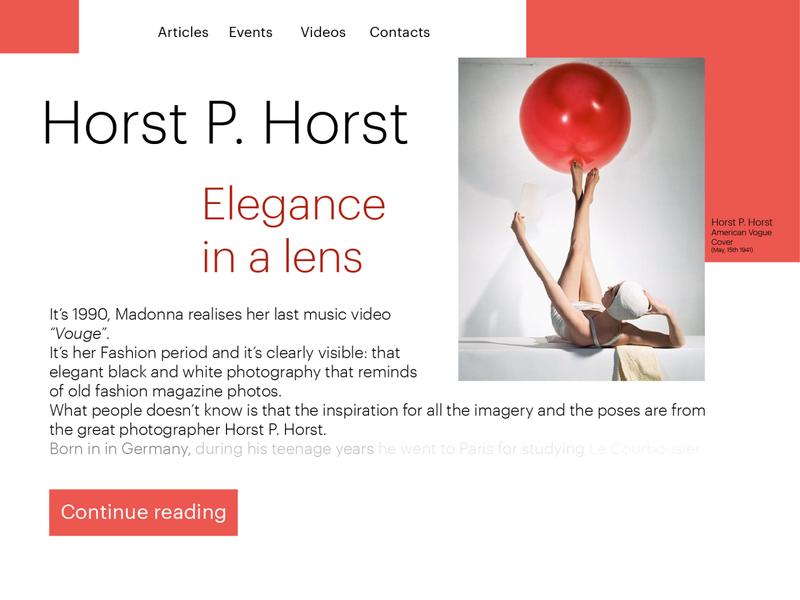Press Page - Fashion Magazine horst p horst fashion magazine fashion press page red white vector uidesign ui illustrator graphicdesign graphic design