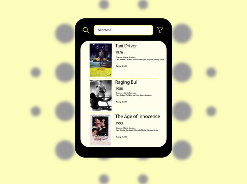 Search - Movie App search movie app movies movie cinema yellow black vector uidesign ui illustrator graphicdesign graphic design