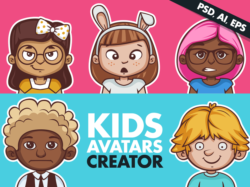 Kids Avatars Creator mascot portrait generator face character illustration vector kit creation creator avatars avatar child children kids